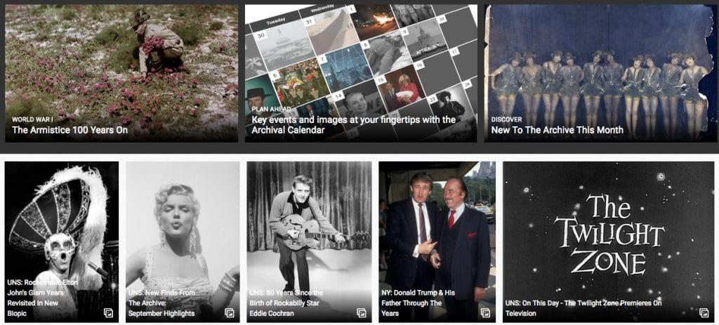 Getty Images screenshot historische beelden